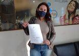 Liziane Aparecida Farias, ganhadora do produto 100 peso