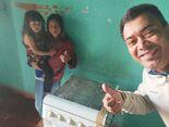 A família da Aline Alves de Souza Pereira foi contemplada com um fogão